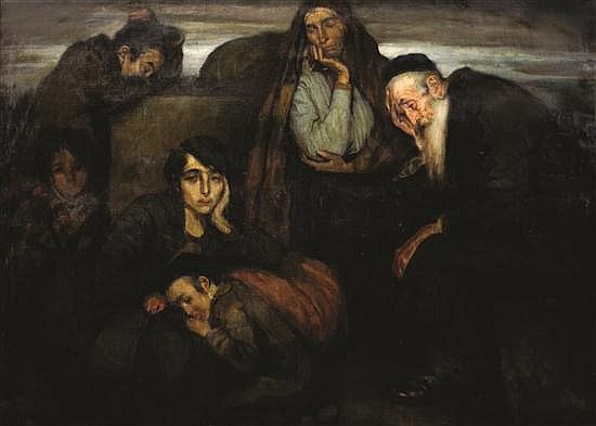 Wilhelm Wachtel 1875-1942 (Polish) Figures in a shtetl oil on canvas