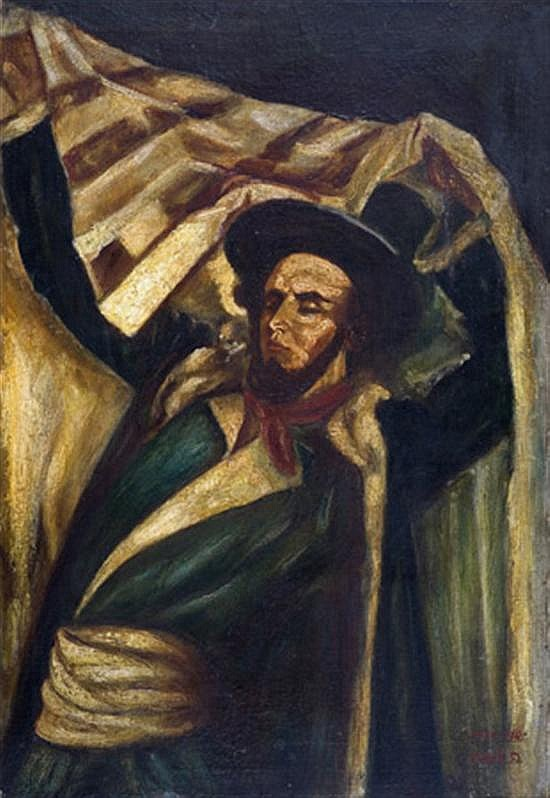 Baruch Agadati 1895-1976 (Israeli) Rabbi with talith, 1939-1945 oil on canvas