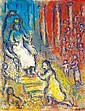 Marc Chagall 1887-1985 (French, Russian) Salomon sur son trפne (The Judgment of Salomon), c. 1980 oil on canvas