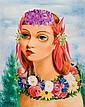 **Moise Kisling 1891-1953 (Polish, French) Petite tête fleurie, 1939 oil on canvas