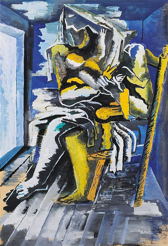 **Ossip Zadkine 1890-1967 (Russian, French) Maternite gouache on paper
