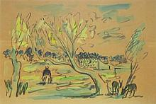 David Hendler 1904-1984 (Israeli) River landscape watercolor on paper