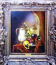 Miguel Gallyas Still life with wine cup and lemon in an original 19th c. ornate Spanish frame oil on board