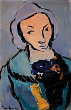 Moshe Mokady 1902-1975 (Israeli) Girl with teddy bear oil on paper mounted on board