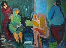 Shimshon Holzman 1907-1986 (Israeli) Small talk oil on board