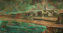 Albert Goldman b. 1922 (Israeli) View of Tiberias oil on board