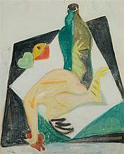 Shalom Sebba 1897-1975 (Israeli) Still life with chicken gouache and pastel crayons on paper