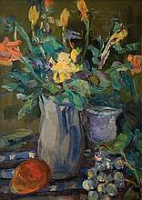 Leo Kahn 1894-1983 (Israeli) Still life with flowers oil on canvas