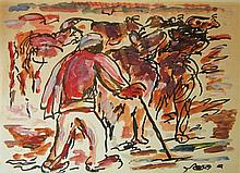 David Hendler 1904-1984 (Israeli) Shepherd mixed media on paper