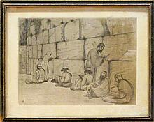 Yaacov Eisenberg 1897-1966 (Israeli) Western wall etching and aquatint