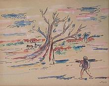 David Hendler 1904-1984 (Israeli) Figure in a landscape watercolor on paper