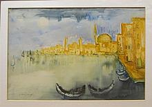 Joseph Kossonogi 1908-1981 (Israeli) Boats in Acre (Akko) watercolor on paper