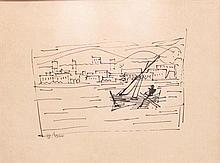Marcel Janco 1895-1984 (Israeli) Fishing boat india ink on paper
