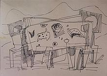 Marcel Janco 1895-1984 (Israeli) Still life, 1920-40's india ink on paper