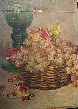 Unidentified European artist 19th c. Still life with a cup and grapes oil on panel