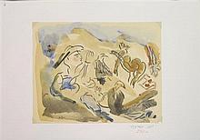 Chaim Meroz Lot including 10 watercolors of different subjects- landscape, still life etc. watercolor on paper