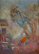 Unknown Israeli artist Figure in landscape oil on board