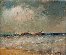 Shmuel Ovadiahu 1892-1963 (Israeli) Seascape with boats, 1930's oil on canvasboard