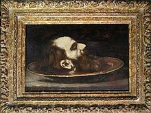 Jaques Langlois 19th c. Severed head (St. John the Baptist) oil on panel