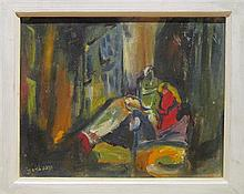 Bracha Binyamini 1891-1993 (Israeli) Women in interior oil on paper mounted on board