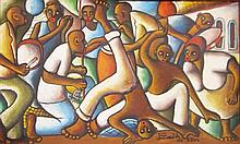 Unidentified Artist Africans dancing oil on canvas