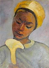 Kaete Ephraim Marcus 1892-1970 (Israeli) Girl with Calla oil on board