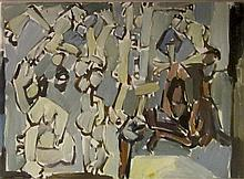 Pinchas Litvinovsky 1894-1984 (Israeli) Figures oil on canvas