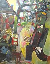 Leo Roth 1914-2002 (Israeli) A man with a a bow tie, 1964 oil on canvas