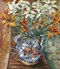 Motia Morhange 20th century (French) Bouquet of flowers oil on paper mounted on cardboard
