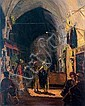 ** Ludwig Blum 1891-1975 (Israeli) Bazaar in the Old city of Jerusalem oil on canvas, Ludwig Blum, Click for value