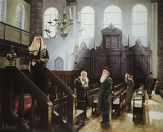 ** Albert Benaroya b. 1963 (Israeli) In the Synagogue signed lower left