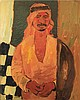 Pinchas Litvinovsky 1894-1984 (Israeli) Portrait of Arab man in kaffiyah, 1920's oil on canvas