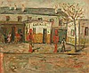 Moshe Castel 1909-1991 (Israeli) Garage oil on paper mounted on cardboard