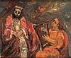**Yitzhak Frenkel Frenel 1899-1981 (Israeli) David jouant de la harpe devant le roi Sal oil on canvas