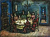 **Moshe Castel 1909-1991 (Israeli) Shabbat meal oil on canvas