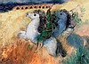 Reuven Rubin 1893-1974 (Israeli) Horses in Caesarea, 1973 oil on canvas