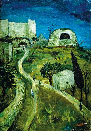 Moshe Castel 1909-1991 (Israeli) On the road to Hebron. Rachel's Tomb, 1930's oil on canvas