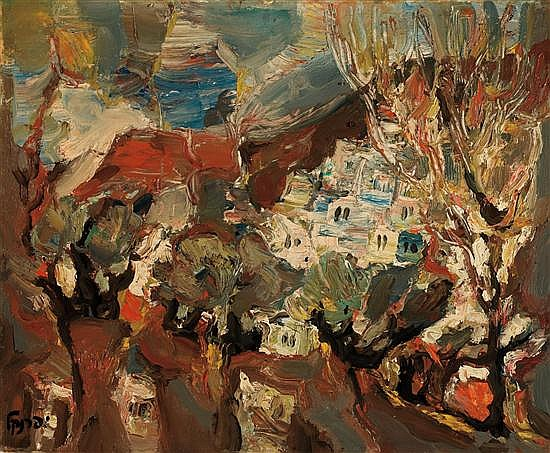 Yitzhak Frenkel Frenel 1899-1981 (Israeli) Safed landscape oil on canvas