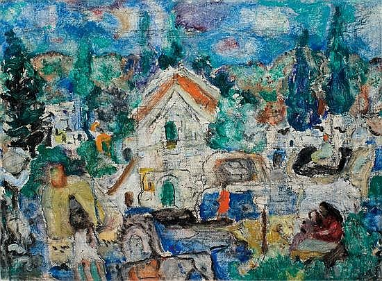 Menachem Shemi 1897-1951 (Israeli) Safed landscape, 1950 oil on canvas