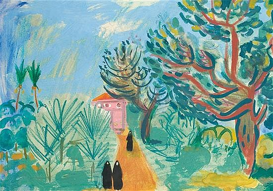 **Nachum Gutman 1898-1980 (Israeli) Landscape with figures watercolor and pastel crayons on paper
