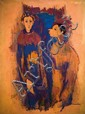 Moshe Mokady 1902-1975 (Israeli) Street clowns oil on canvas