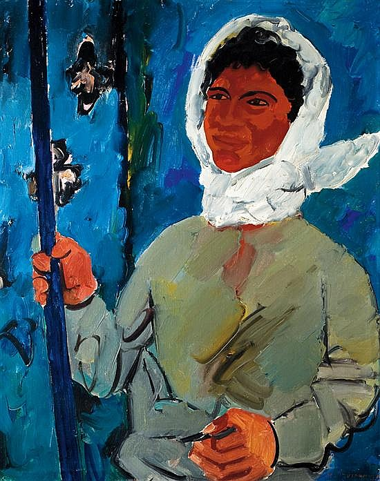 Pinchas Litvinovsky 1894-1984 (Israeli) Butterfly hunt, 1920's oil on canvas