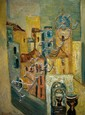 Yitzhak Frenkel Frenel 1899-1981 (Israeli) Urban landscape oil on masonite