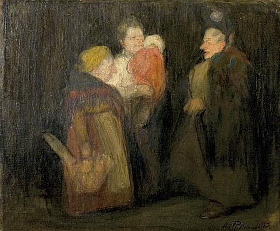 Abel Pann 1883-1963 (Israeli, Latvian) Conversation oil on canvas mounted on cardboard