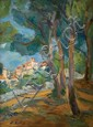 Leo Kahn 1894-1983 (Israeli) Village oil on canvas