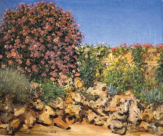 Ludwig Blum 1891-1975 (Israeli) A garden in Jerusalem , 1936 oil on canvas