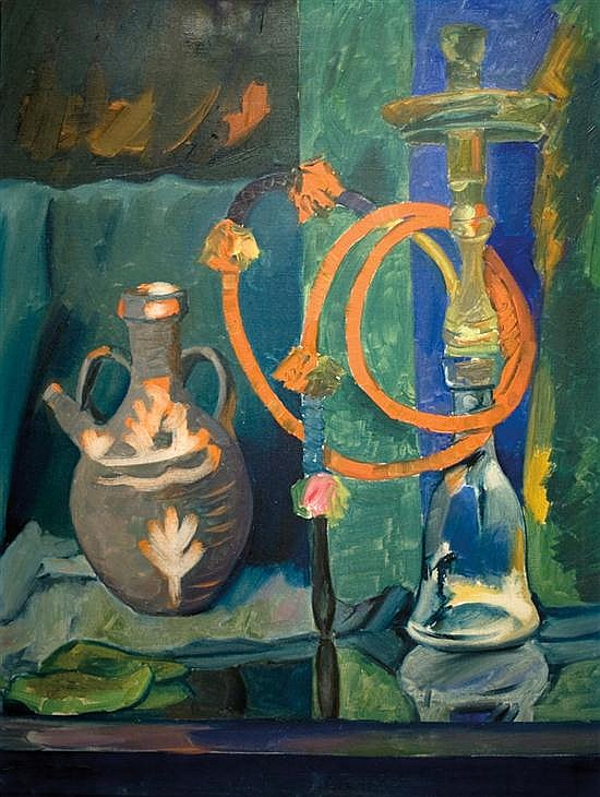 Pinchas Litvinovsky 1894-1984 (Israeli) Still life with nargila oil on canvas