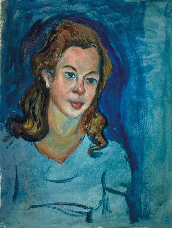 Moshe Castel 1909-1991 (Israeli) Portrait of a woman oil on paper mounted on canvas
