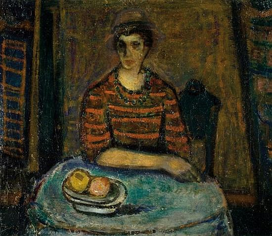 Avraham Naton 1906-1959 (Israeli) Woman seated by a table, 1945 oil on canvas