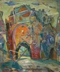 Yaacov Eisenscher 1896-1980 (Israeli) Safed oil on canvas